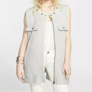 Free People Gray Highway Sweater Vest Full Zip M